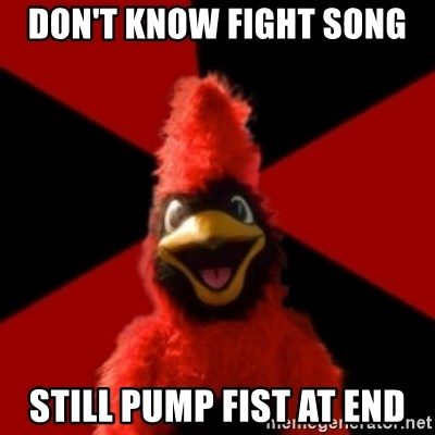 Wesleyan Cardinal - Don't know fight song still pump fist at end