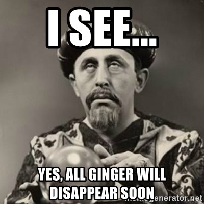 Dramatic Fortune Teller - I see... Yes, all ginger will DISAPPEAR soon