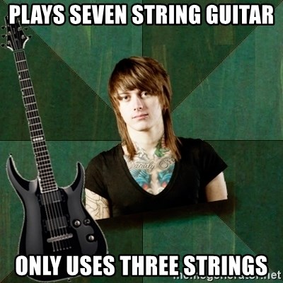 Progressive Guitarist - plays seven string guitar only uses three strings