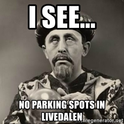 Dramatic Fortune Teller - I see... no parking spots in livedalen