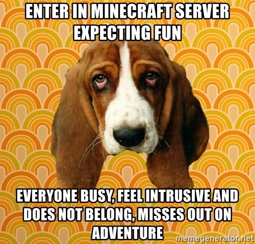 SAD DOG - Enter in minecraft server expecting fun everyone busy, feel intrusive and does not belong, misses out on adventure