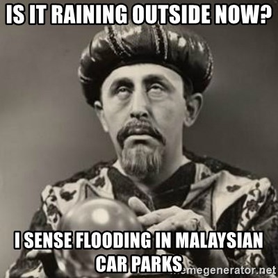 Dramatic Fortune Teller - Is it raining outside now? I sense flooding in Malaysian car parks