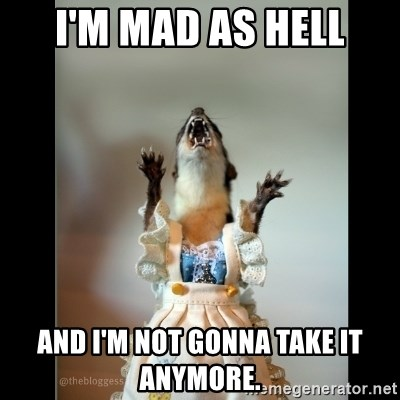 Juanita Weasel - I'm mad as hell and i'm not gonna take it anymore.