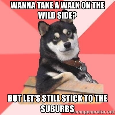 Cool Dog - wanna take a walk on the wild side? but let's still stick to the suburbs