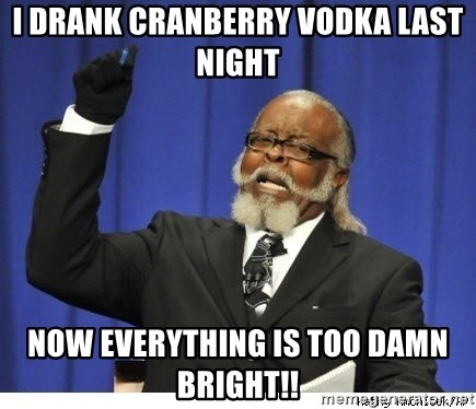 The tolerance is to damn high! - i drank cranberry vodka last night now everything is too damn bright!!