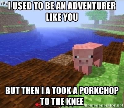 Minecraft PIG - I used to be an adventurer like you but then i a took a porkchop to the knee