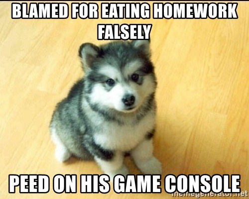 Baby Courage Wolf - bLAMED FOR EATING HOMEWORK FALSELY PEEd ON HIS GAME CONSOLE