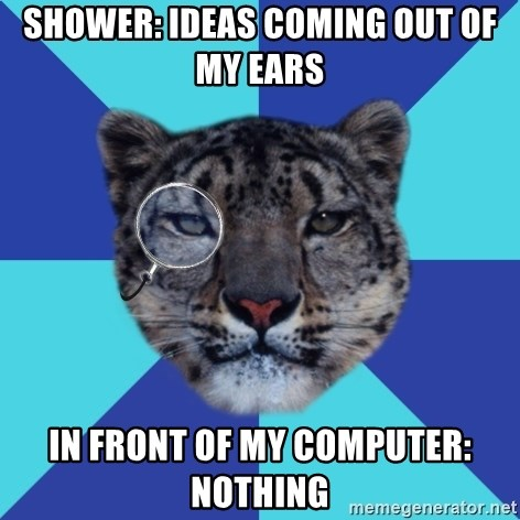 Writer Leopard - Shower: ideas coming out of my ears in front of my computer: nothing