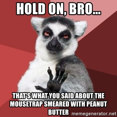 Chill Out Lemur - hold on, bro... that's what you said about the mousetrap smeared with peanut butter