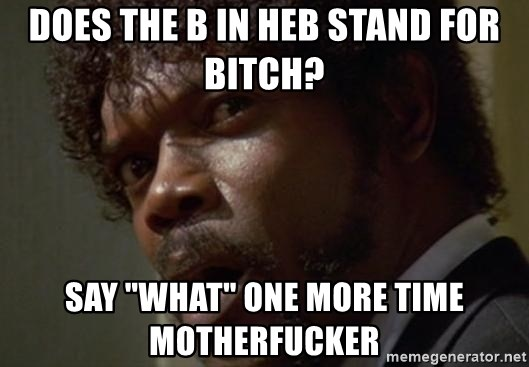 """Angry Samuel L Jackson - DOES THE B IN HEB STAND FOR BITCH? SAY """"WHAT"""" ONE MORE TIME MOTHERFUCKER"""