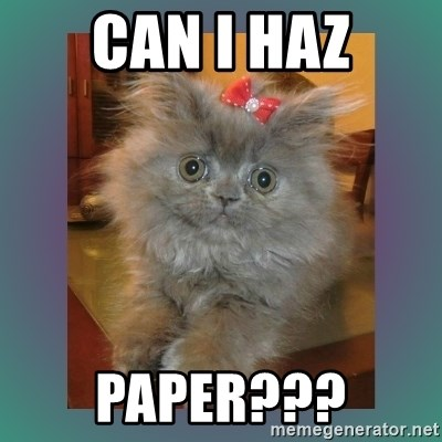 cute cat - can i haz paper???