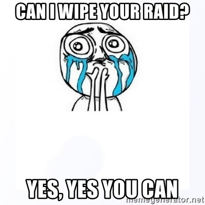 YES YOU CAN - can i wipe your raid? yes, yes you can