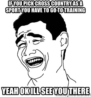 Asian Troll Face - if you pick cross country as a sport you have to go to training yeah ok ill see you there