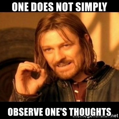 Does not simply walk into mordor Boromir  - one does not simply observe one's thoughts