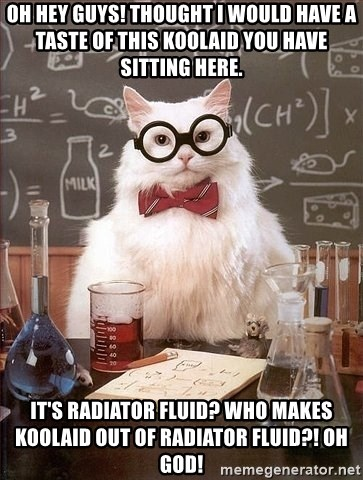 Chemistry Cat - oh hey guys! Thought i would have a taste of this koolaid you have sitting here. it's radiator fluid? who makes koolaid out of radiator fluid?! oh god!