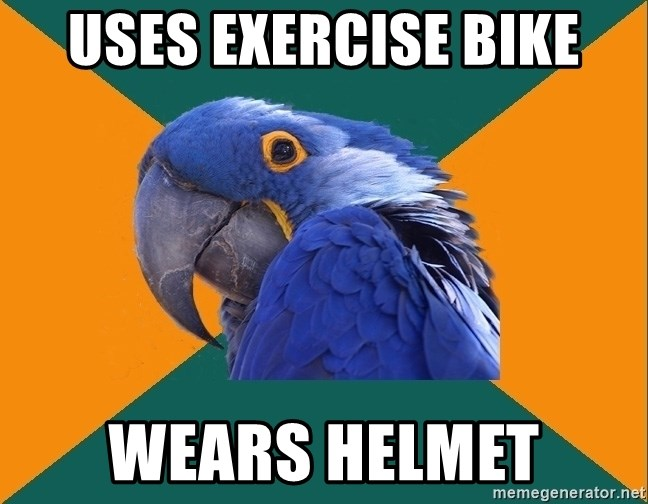 Paranoid Parrot - uses exercise bike wears helmet