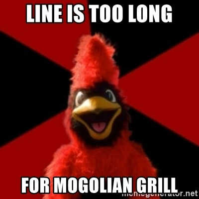 Wesleyan Cardinal - Line is too long for mogolian grill