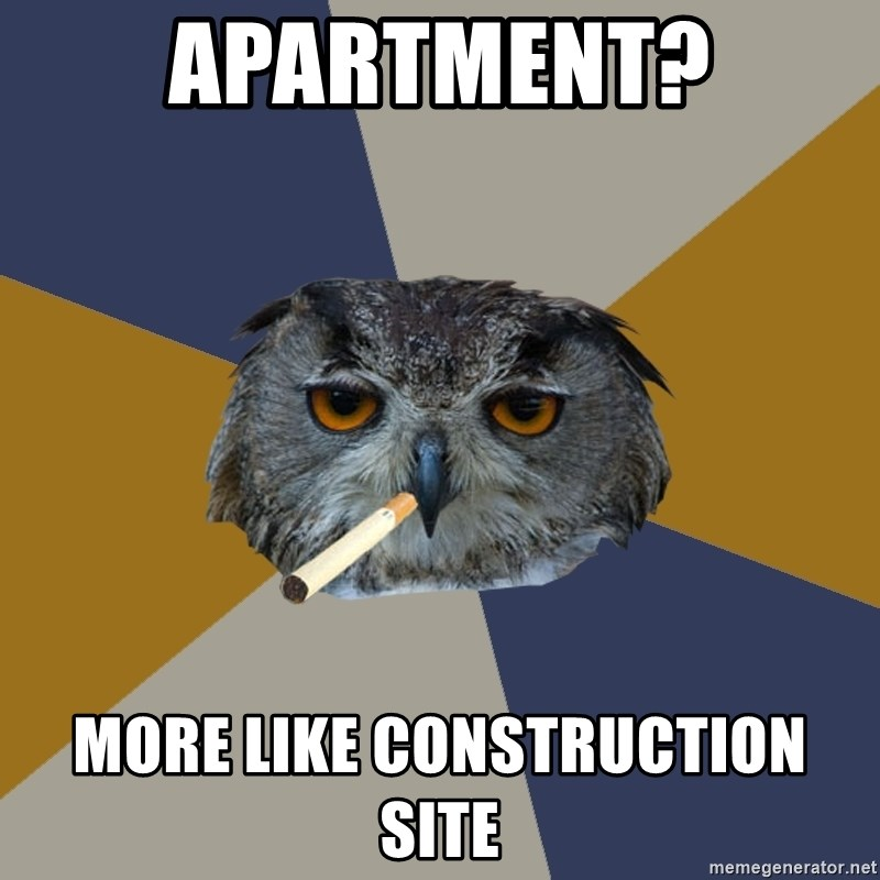 Art Student Owl - Apartment? More like construction site