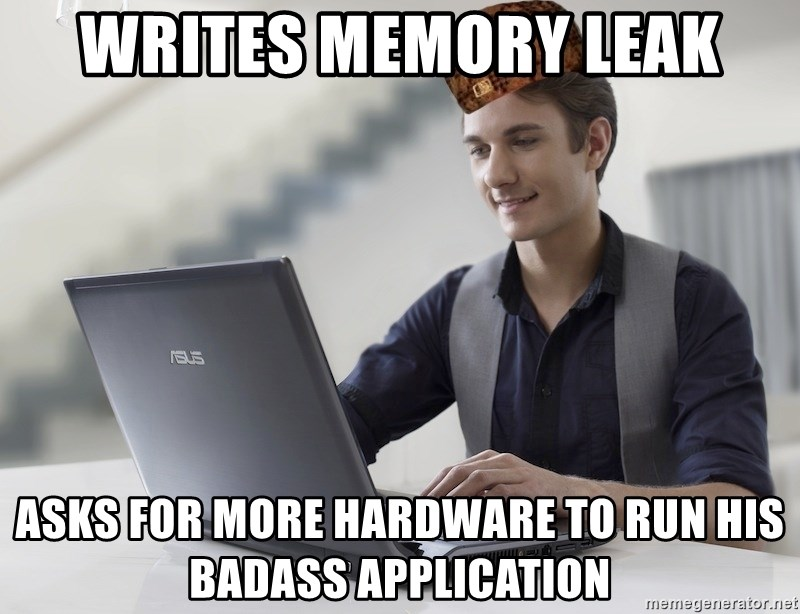 SCUMBAG TKer V.2.0 - writes memory leak asks for more hardware to run his badass application