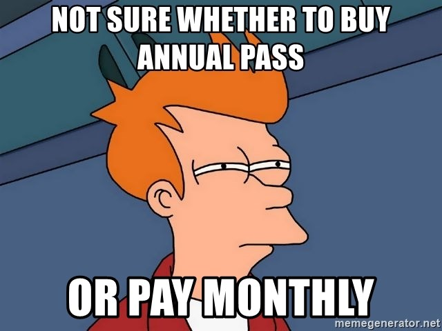 Futurama Fry - not sure whether to buy annual pass or pay monthly