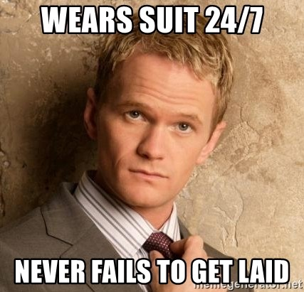 BARNEYxSTINSON - Wears suit 24/7 never fails to get laid
