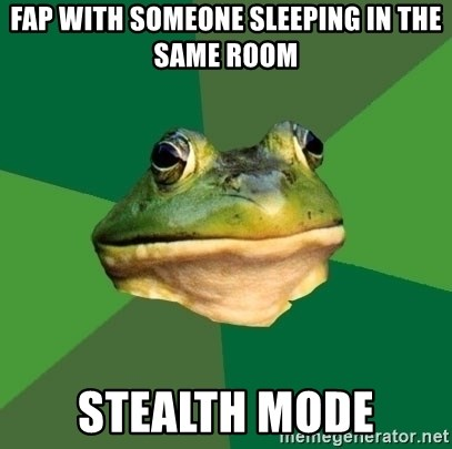Foul Bachelor Frog - fap with someone sleeping in the same room stealth mode