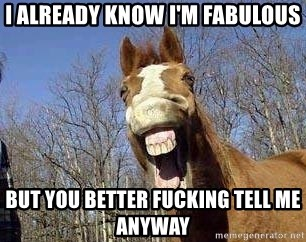 Horse - I already know I'm fabulous but you better fucking tell me anyway