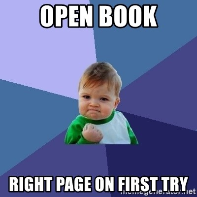 Success Kid - Open book right page on first try