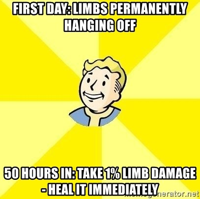 Fallout 3 - first day: limbs permanently hanging off 50 hours in: take 1% limb damage - heal it immediately