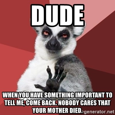 Chill Out Lemur - dude when you have something important to tell me, come back. nobody cares that your mother died.