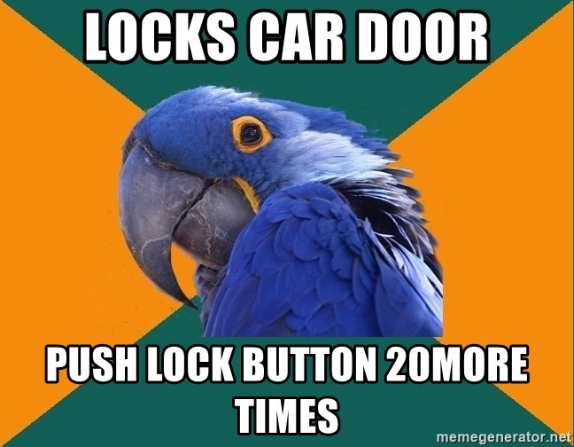 Paranoid Parrot - locks car door push lock button 20more times