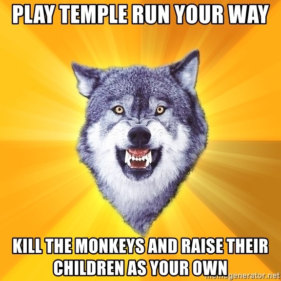 Courage Wolf - play temple run your way kill the monkeys and raise their children as your own