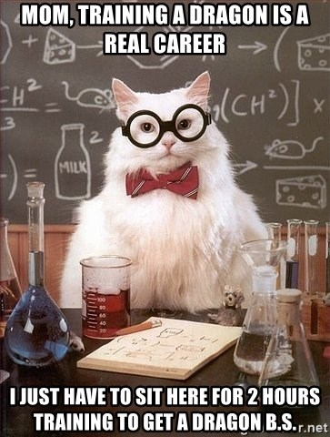 Chemistry Cat - mom, training a dragon is a real career i just have to sit here for 2 hours training to get a dragon B.S.