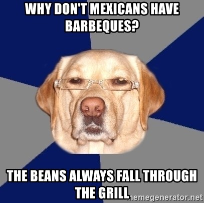Racist Dawg - Why don't mexicans have barbeques? The beans always fall through the grill
