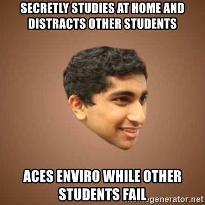 Handsome Indian Man - Secretly studies at home and Distracts Other Students Aces Enviro While Other Students Fail