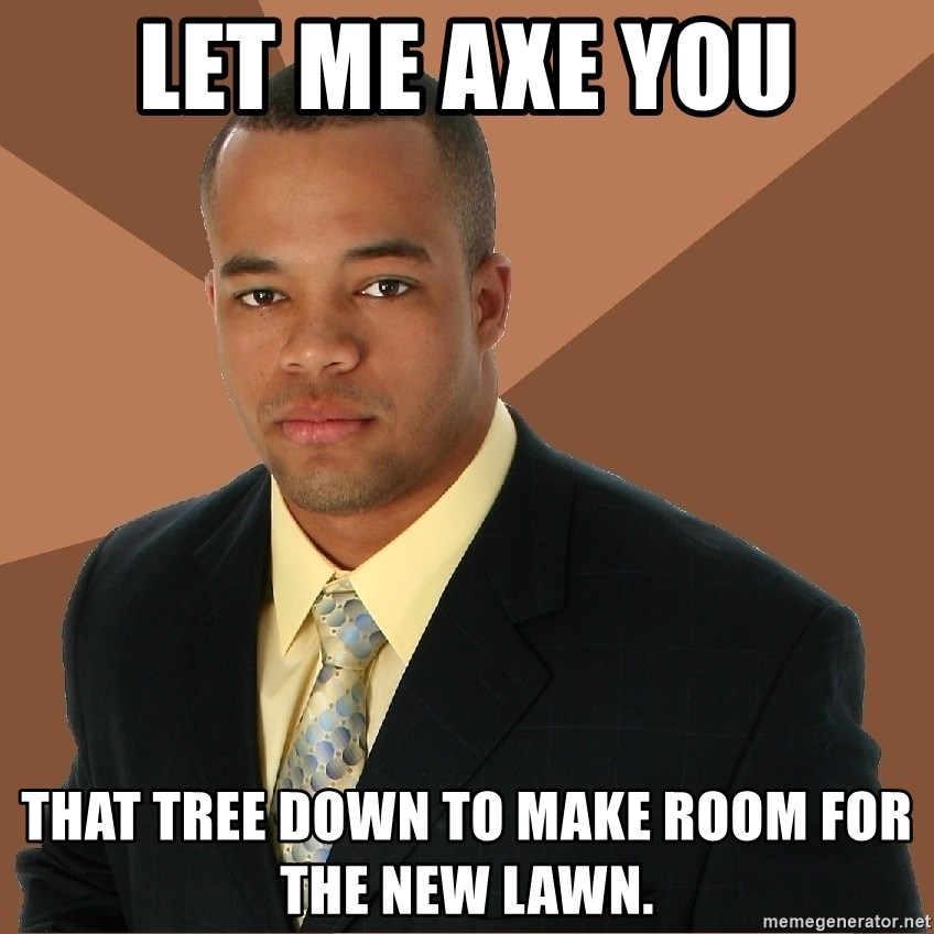 Successful Black Man - let me axe you that tree down to make room for the new lawn.