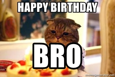 Birthday Cat - Happy birthday bro