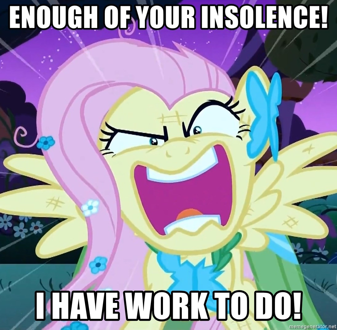 angry-fluttershy - Enough of yOUR INSOLENCE! i HAVE WORK TO DO!