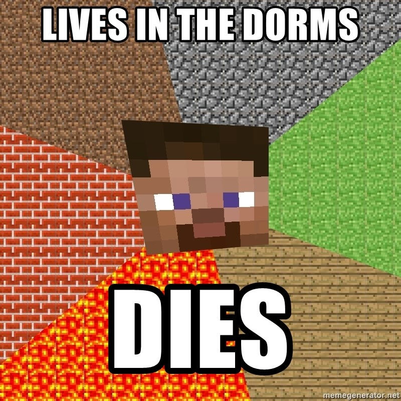 Minecraft Guy - lives in the dorms dies