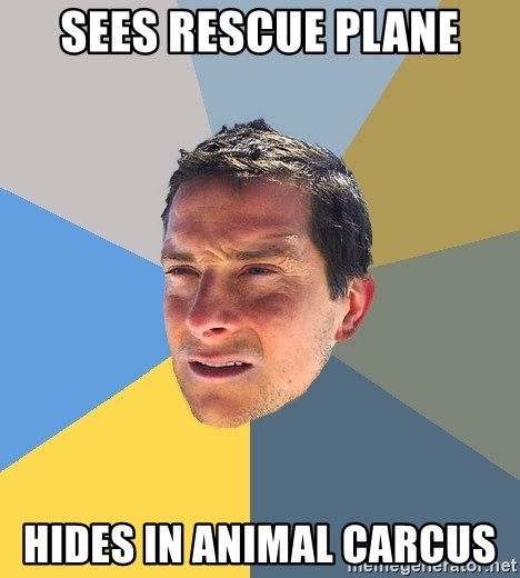 Bear Grylls - sees rescue plane hides in animal carcus