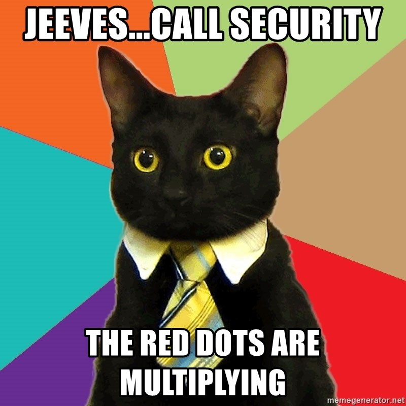 Business Cat - Jeeves...call security the red dots are multiplying