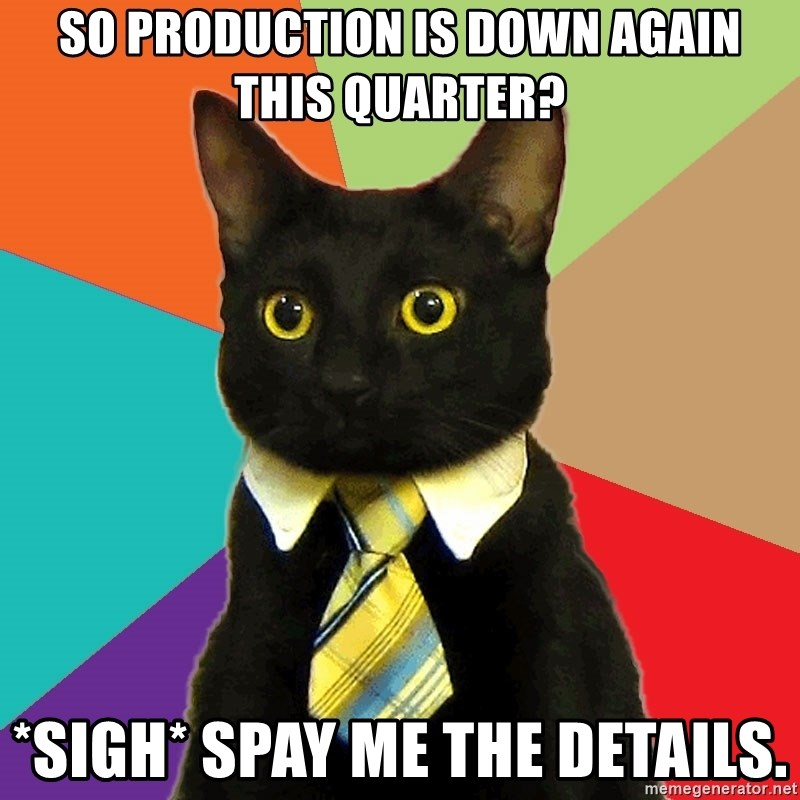 Business Cat - so production is down again this quarter? *sigh* spay me the details.