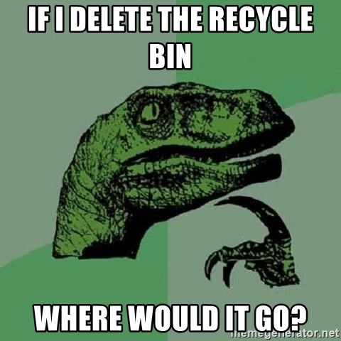 Philosoraptor - if i delete the recycle bin where would it go?