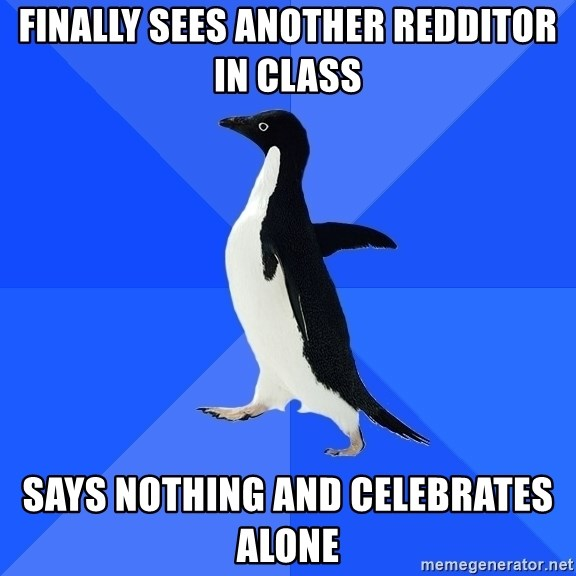Socially Awkward Penguin - Finally sees another redditor in class says nothing and celebrates alone