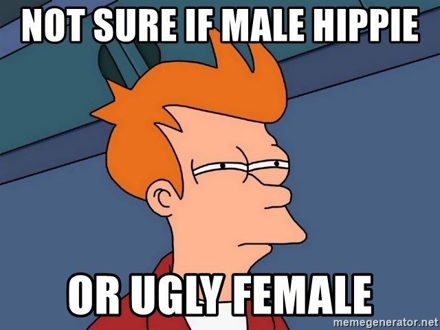 Futurama Fry - Not sure if male hippie or ugly female