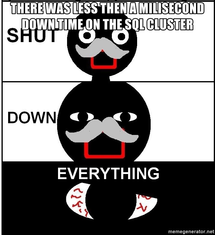 Shut Down Everything - there was less then a milisecond down time on the sql cluster
