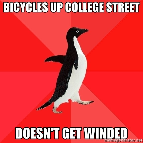 Socially Awesome Penguin - Bicycles up college street doesn't get winded