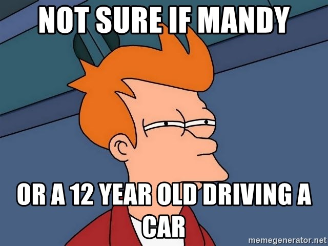 Futurama Fry - Not sure if Mandy Or a 12 year old driving a car