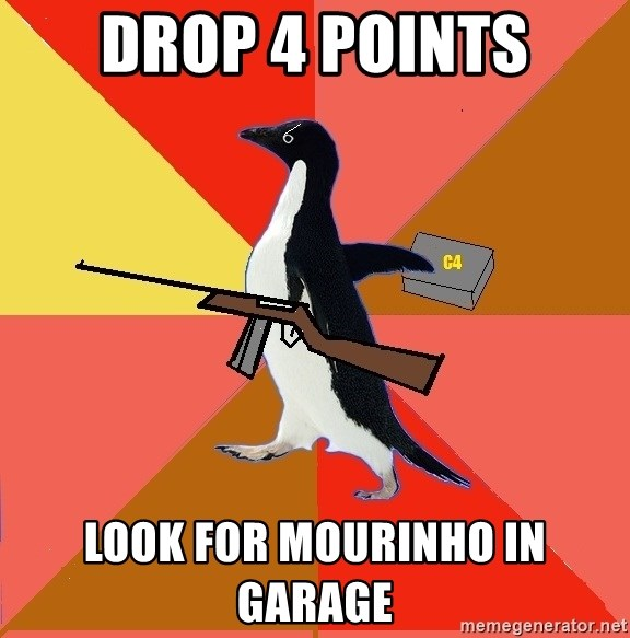 Socially Fed Up Penguin - DROP 4 points look for mourinho in garage