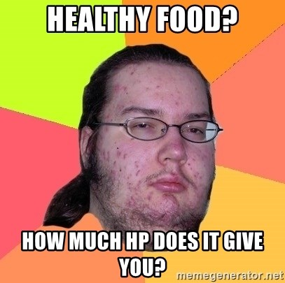 Butthurt Dweller - healthy food? how much hp does it give you?